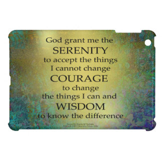 Serenity Prayer Gold on Blue-Green iPad Mini Cases