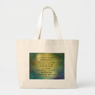 Serenity Prayer Gold on Blue-Green Large Tote Bag