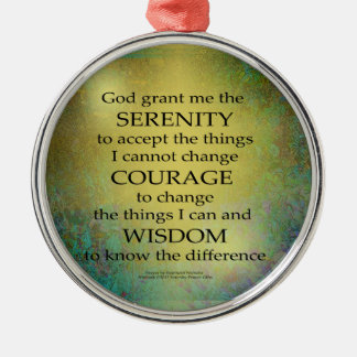 Serenity Prayer Gold on Blue-Green Metal Ornament
