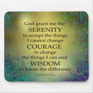 Serenity Prayer Gold on Blue-Green Mouse Pad