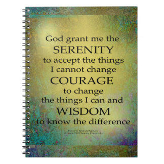 Serenity Prayer Gold on Blue-Green Note Book