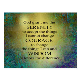 Serenity Prayer Gold on Blue-Green Postcard