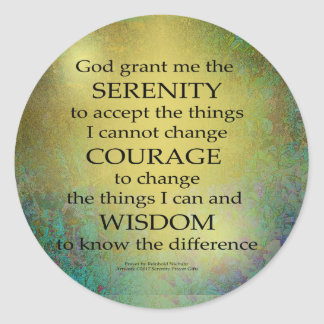 Serenity Prayer Gold on Blue-Green Round Sticker