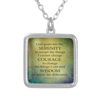Serenity Prayer Gold on Blue-Green Silver Plated Necklace