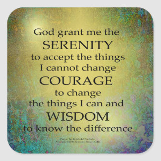Serenity Prayer Gold on Blue-Green Square Sticker