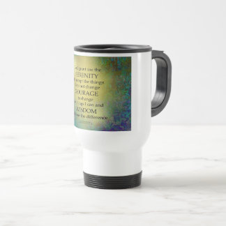 Serenity Prayer Gold on Blue-Green Travel Mug
