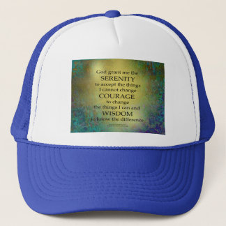 Serenity Prayer Gold on Blue-Green Trucker Hat