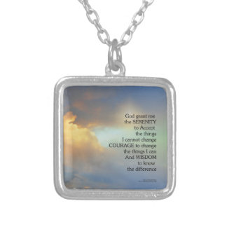 Serenity Prayer Golden Cloud Silver Plated Necklace