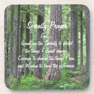 Serenity Prayer Green Forest Photo Coaster Set