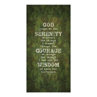 Serenity Prayer: Grunge, Camouflage, Recovery Customized Photo Card