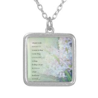 Serenity Prayer Hyacinths Blend Silver Plated Necklace