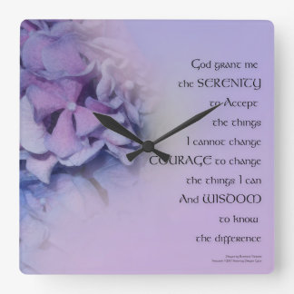 Serenity Prayer Hydrangeas Harmony Lavender Square Wall Clock