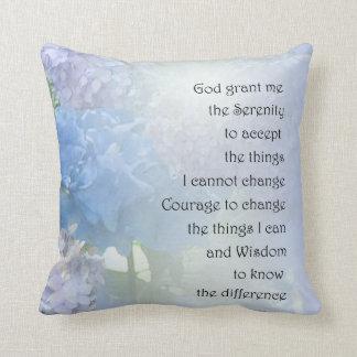 Serenity Prayer Hydrangeas Throw Pillow