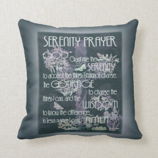 Serenity Prayer in Grey and Teal Throw Pillow