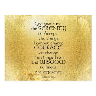 Serenity Prayer Kelt on Yellow Postcard