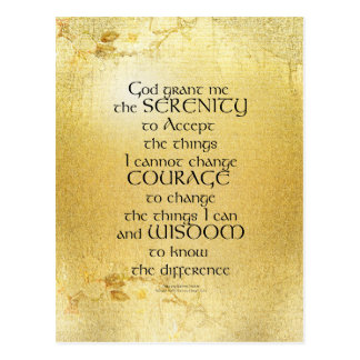 Serenity Prayer Kelt on Yellow Postcard