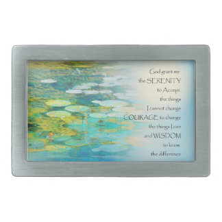 Serenity Prayer Koi Pond Blue Green Belt Buckles
