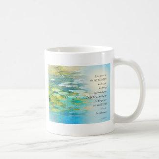 Serenity Prayer Koi Pond Blue Green Coffee Mug