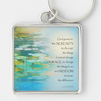 Serenity Prayer Koi Pond Blue Green Keychain