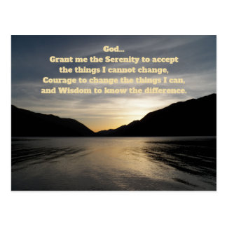 Serenity Prayer Lake Sunset Photo Postcard