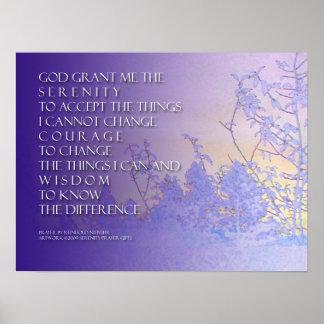 Serenity Prayer Lavender & Blue Trees Print