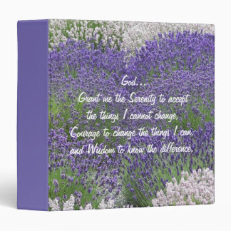 Serenity Prayer Lavender Garden Floral 3 Ring Binders