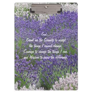 Serenity Prayer Lavender Garden Floral Clipboard