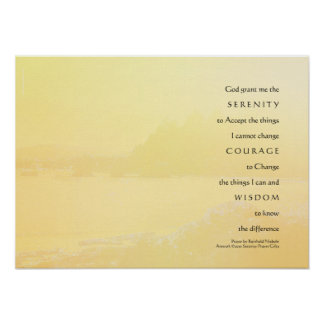 Serenity Prayer Light Yellow Gold Shore Print