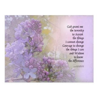 Serenity Prayer Lilacs Postcard