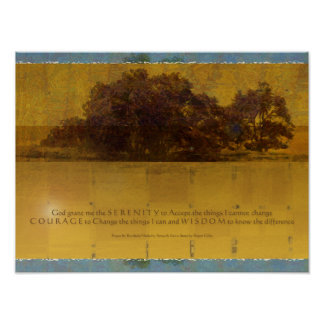Serenity Prayer Oaks by the Lake Poster