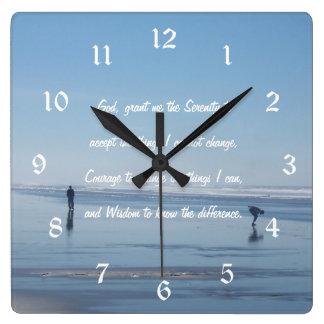Serenity Prayer Ocean Beach Photo Square Wall Clock
