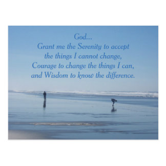 Serenity Prayer Ocean Beach Postcard