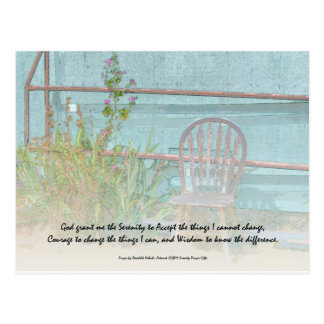 Serenity Prayer Old Chair and Flowers Postcard