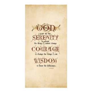 Serenity Prayer: Old English Antique, Recovery Photo Greeting Card