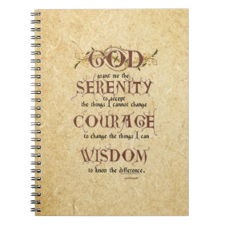 Serenity Prayer: Old English Antique, Strength/Rec Notebooks