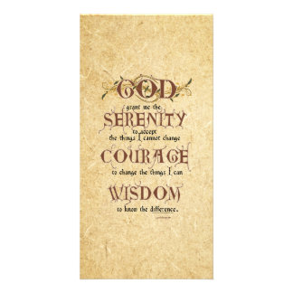 Serenity Prayer: Old English Antique, Strength/Rec Personalized Photo Card
