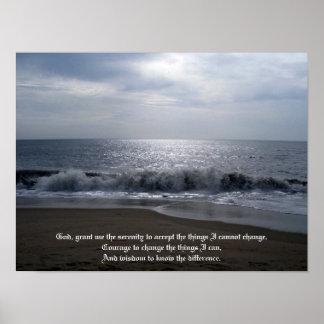 Serenity Prayer on Beautiful Beach Photo at Dawn Poster