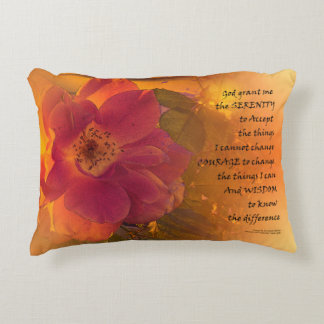 Serenity Prayer Orange Pink Rose Decorative Pillow