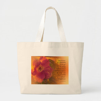 Serenity Prayer Orange Pink Rose Large Tote Bag