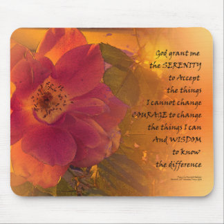 Serenity Prayer Orange Pink Rose Mouse Pad