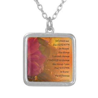 Serenity Prayer Orange Pink Rose Silver Plated Necklace
