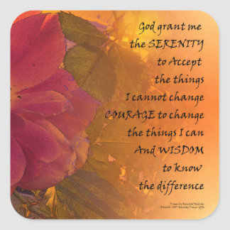 Serenity Prayer Orange Pink Rose Square Sticker