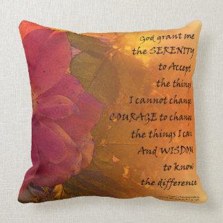 Serenity Prayer Orange Pink Rose Throw Pillow