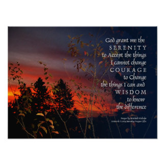 Serenity Prayer Orange Sunrise Print