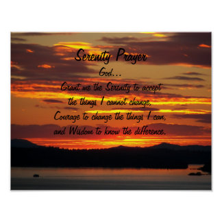 Serenity Prayer Orange Sunset Photo Poster