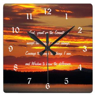 Serenity Prayer Orange Sunset Photo Square Wall Clock