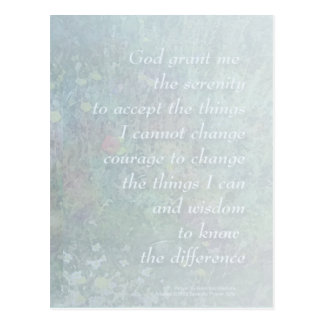 Serenity Prayer Pale Blue Wildflowers Postcard