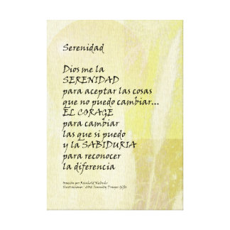 Serenity Prayer Pampas in Spanish Wrapped Canvas