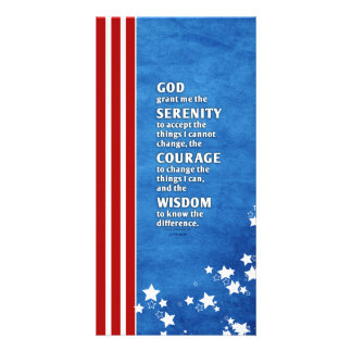 Serenity Prayer: Patriotic USA, Strength/Recovery Custom Photo Card