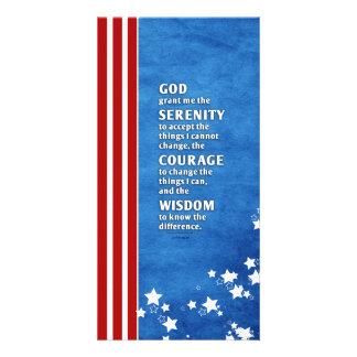 Serenity Prayer: Patriotic USA, Strength/Recovery Custom Photo Card